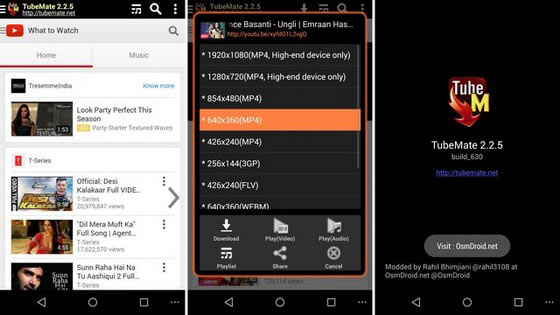 Download YouTube Videos to Android using Tubemate