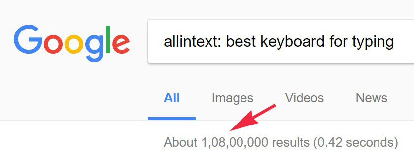 Low competition keyword analysis for allintext