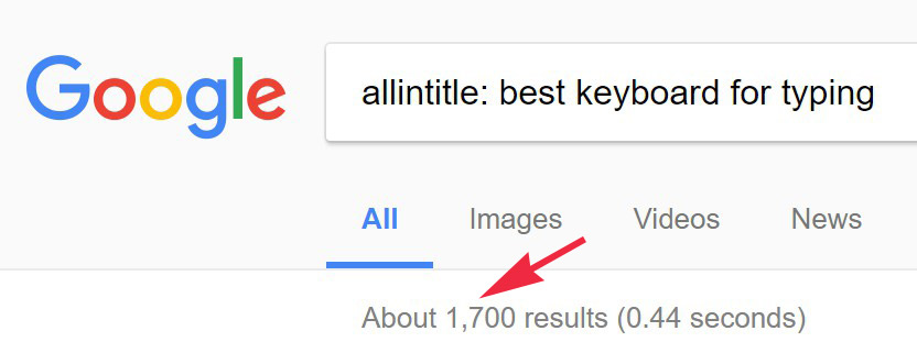 Low competition keyword analysis for allintitle