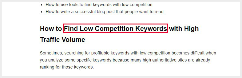 Include your keywords in headings