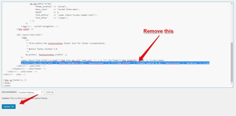 Remove powered by wordpress