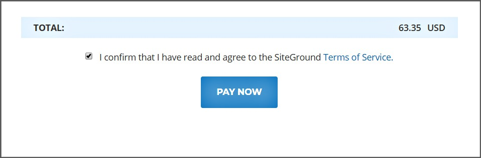 Pay Now Siteground