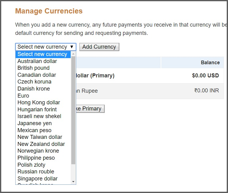 Currencies supported by Paypal