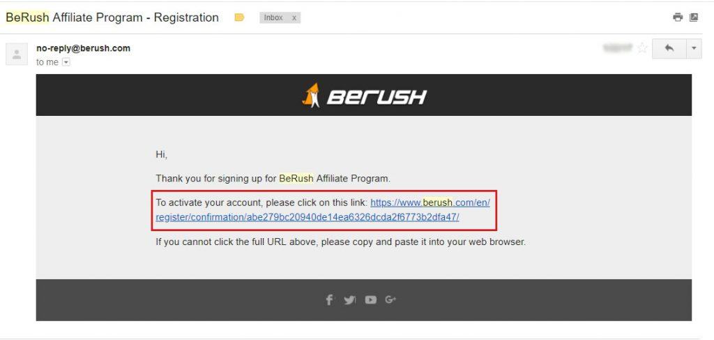 Berush registration successful notice