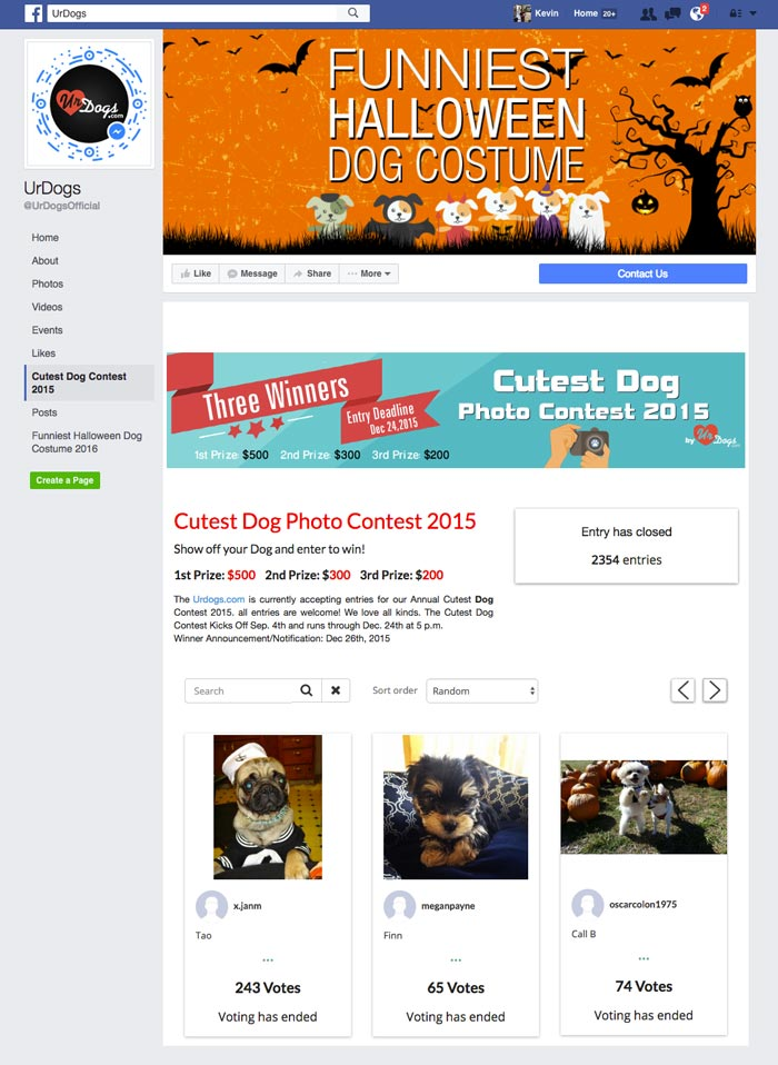facebook contest example