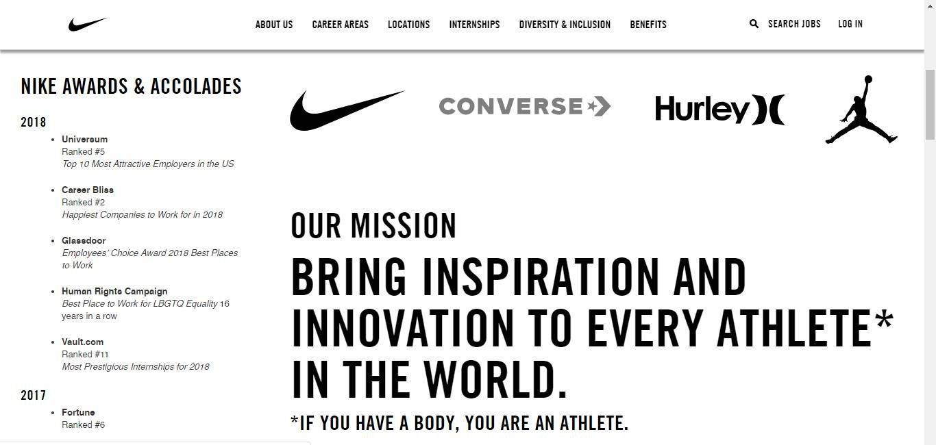 Nike's About page