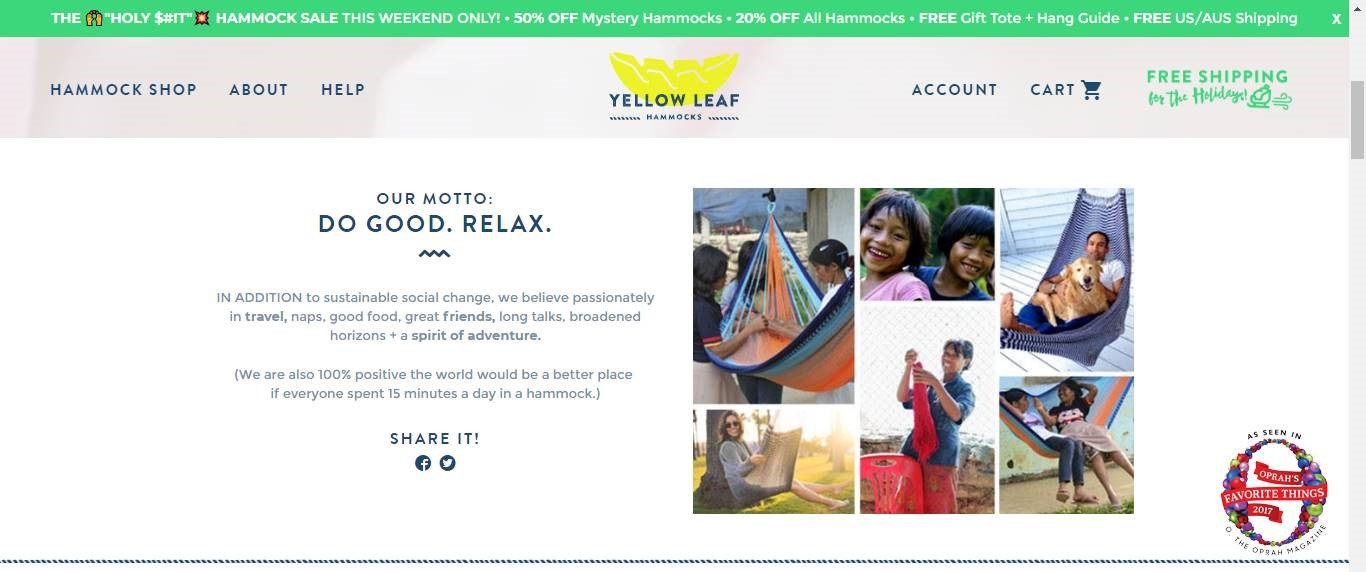 Yellow Leaf Hammock About us page