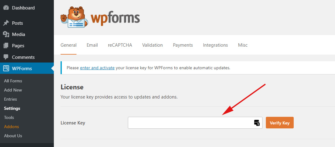 Enter License key in WPForms Pro