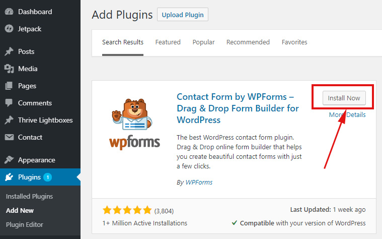Install WPForms plugin