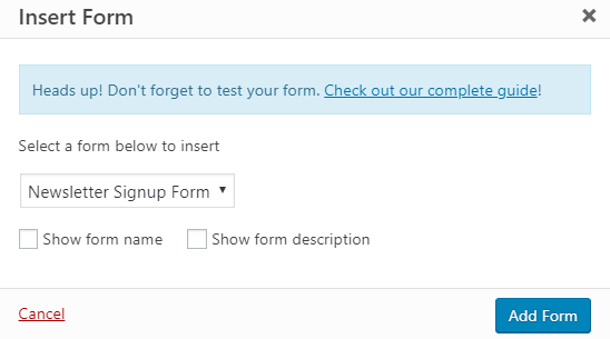 Insert form with WPForms Plugin