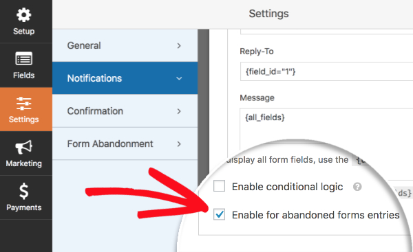 Enable for abandoned forms entries