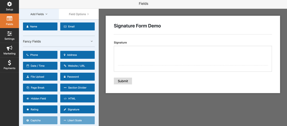 Signature field Form