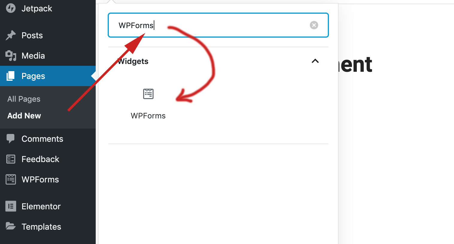 type WPForms in the search bar