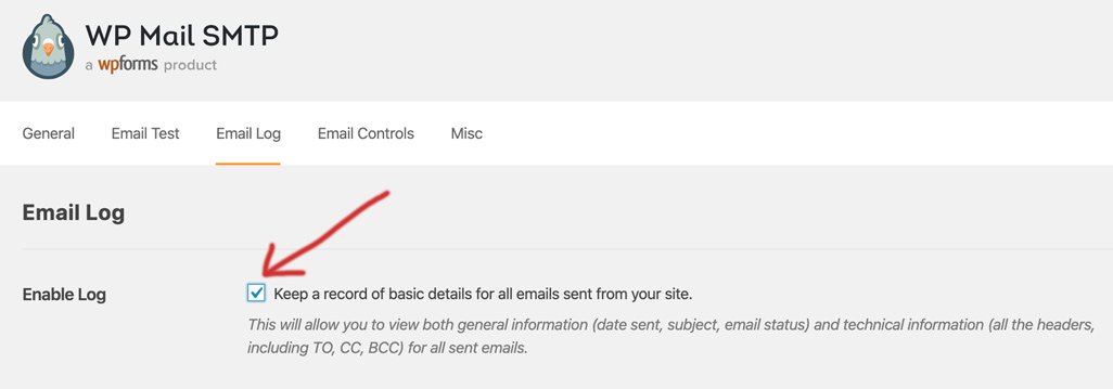 Enable email logging