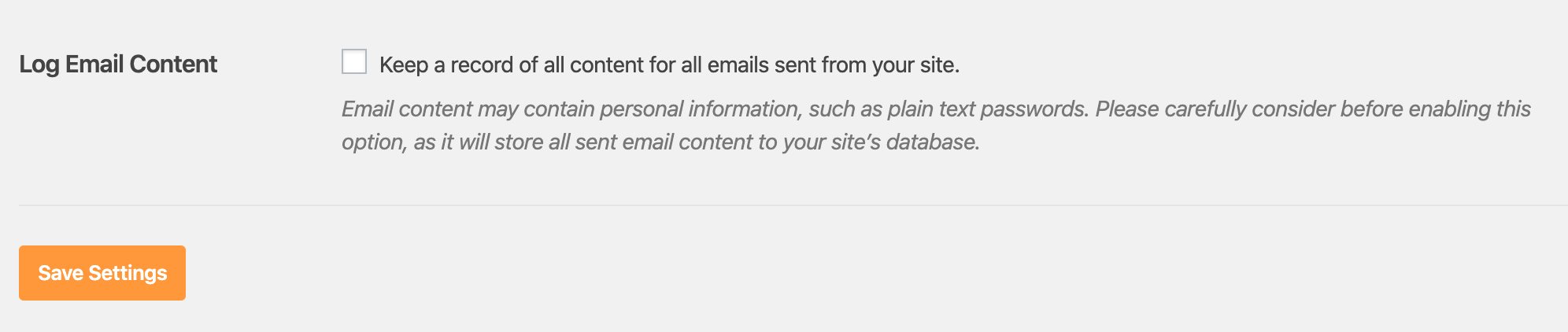 Log Email Content