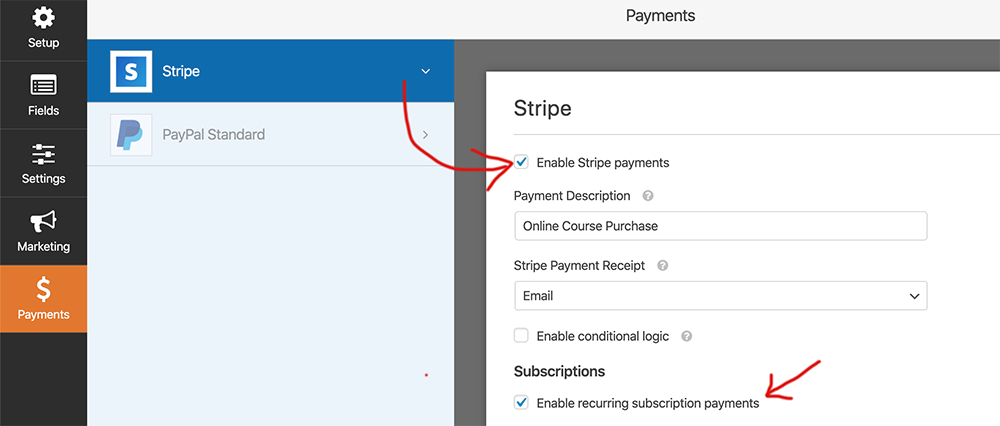 Enable Stripe Payment option