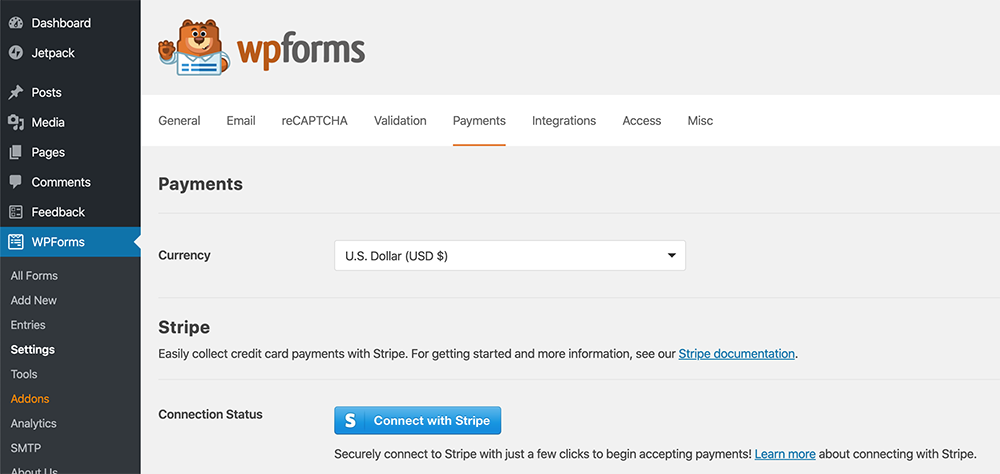 Payment tab of WPForms