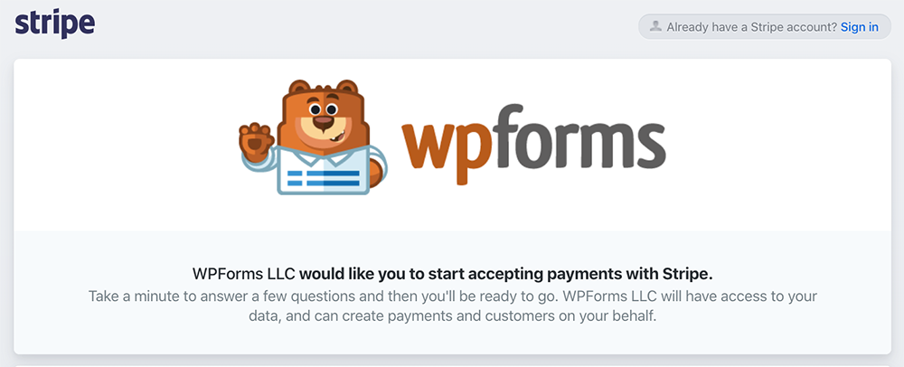 Stripe Agreement Page