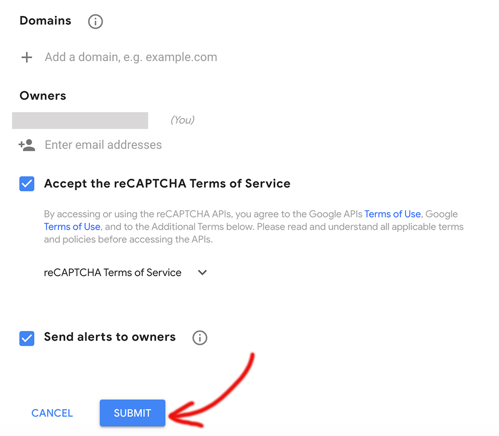 Add domain to reCAPTCHA settings