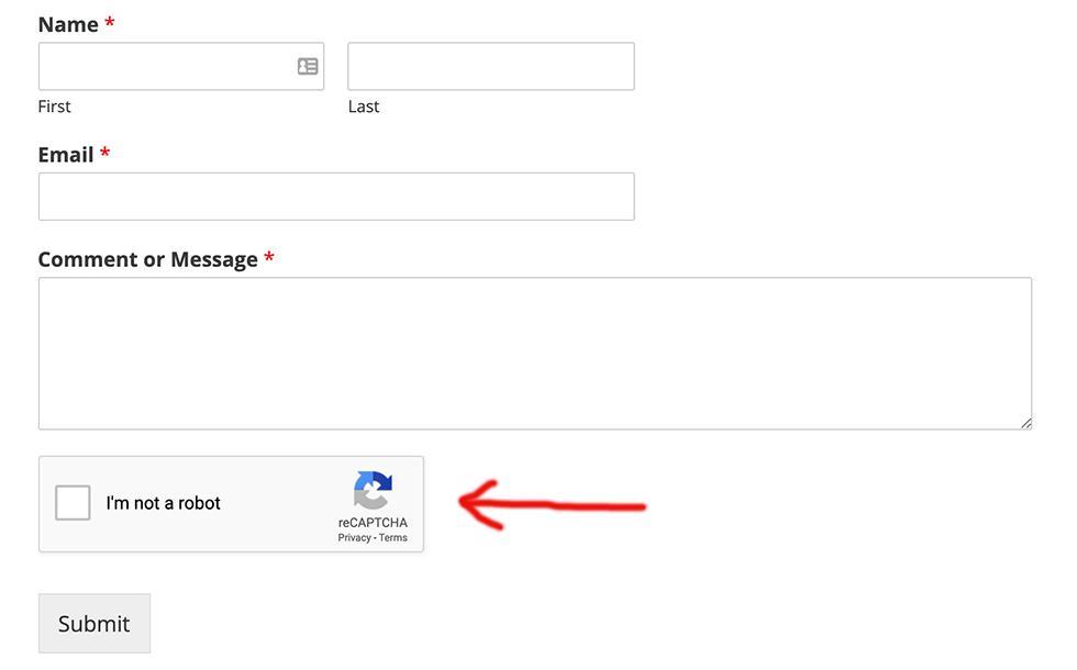 Contact form with reCaptcha