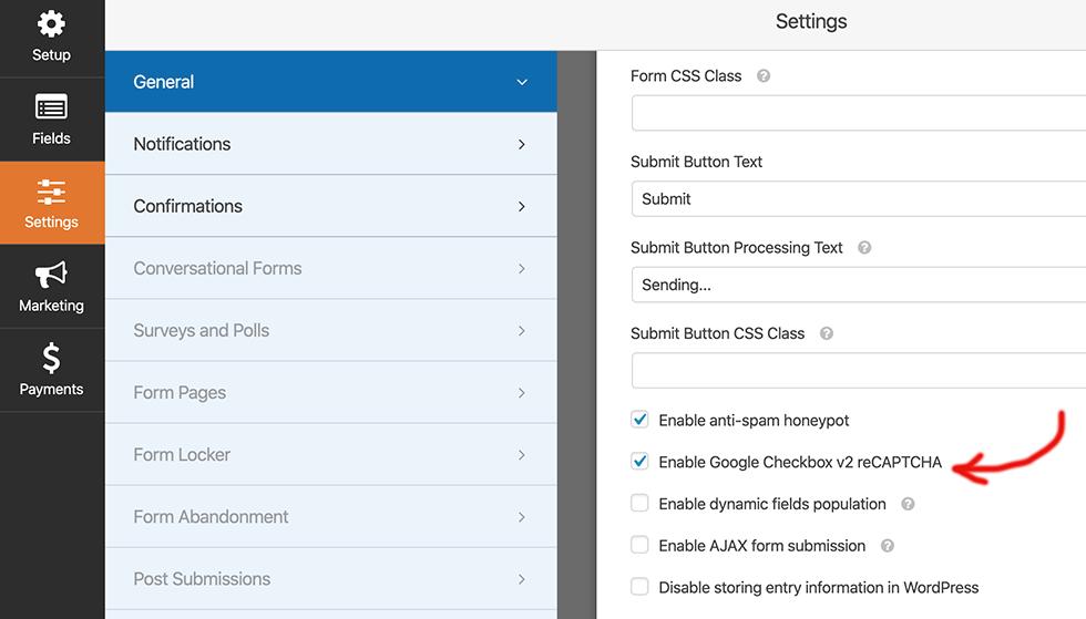 enable Google Checkbox recaptcha