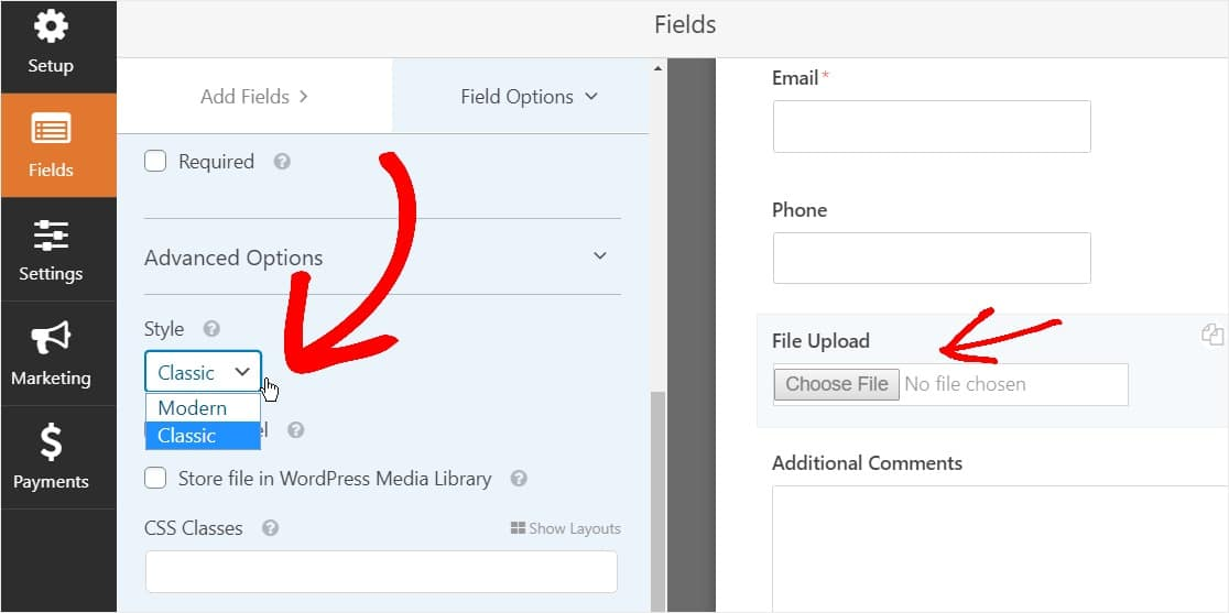 change to classic file upload style