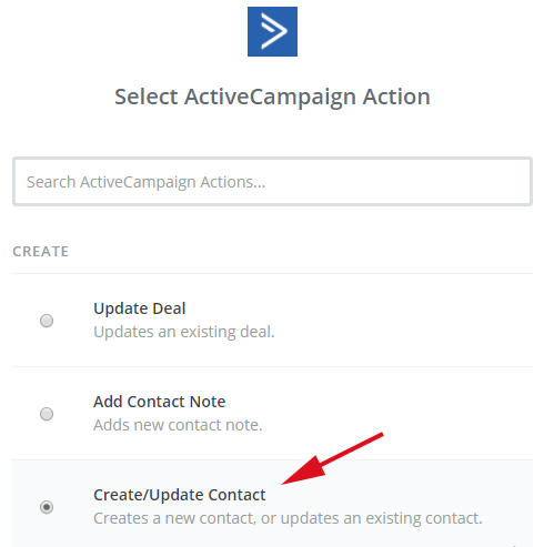 select an ActiveCampaign action