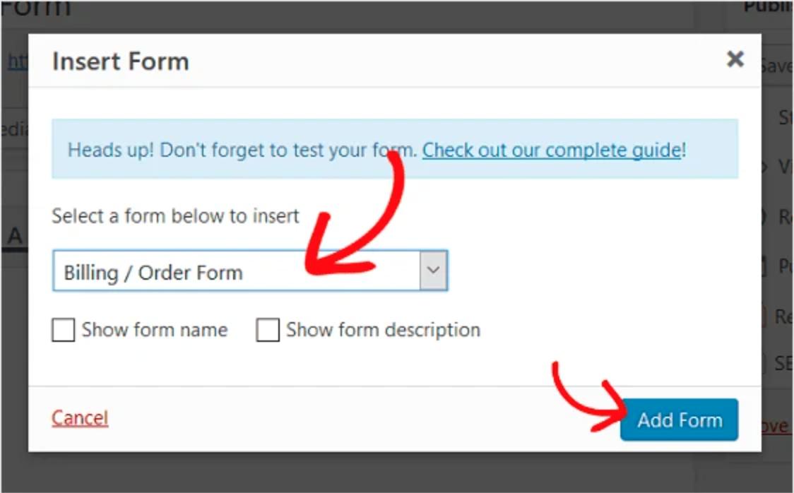 Select Billing or Order Form