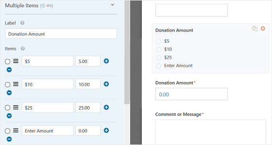 add a multiple-choice payment field
