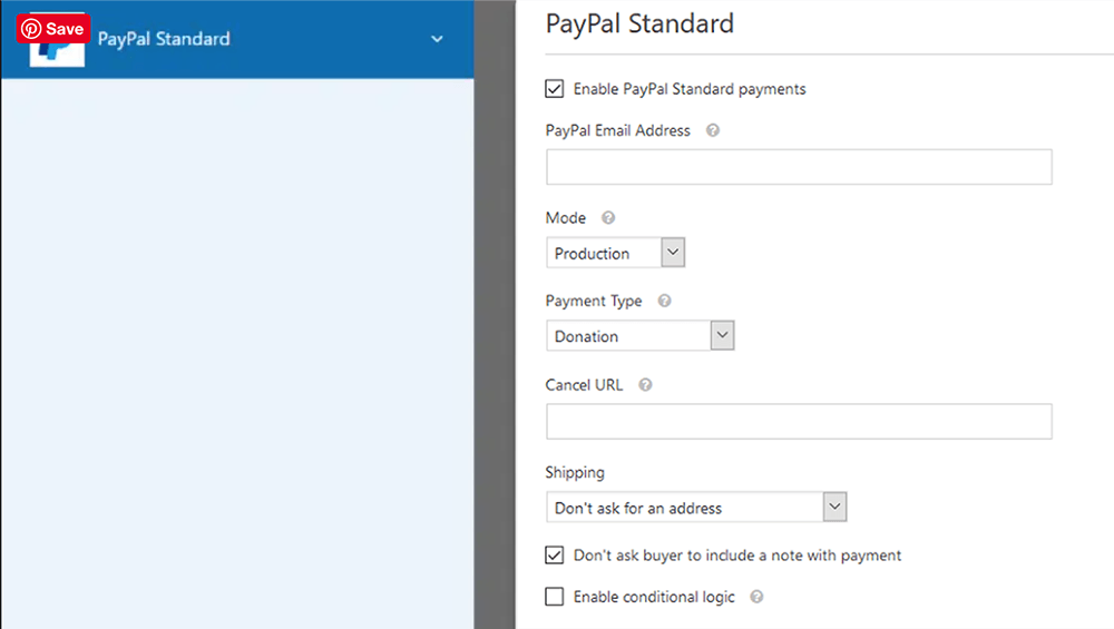 enabling PayPal Standard payments