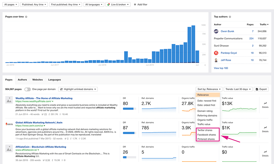 Ahrefs Content Explorer Affiliate Marketing result