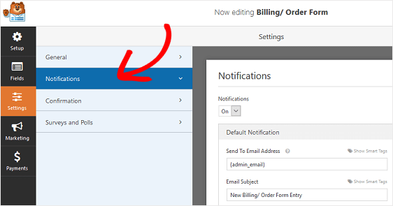 Notification-Settings of Order Form