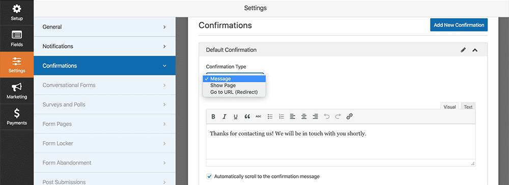 Setting the Confirmation Message