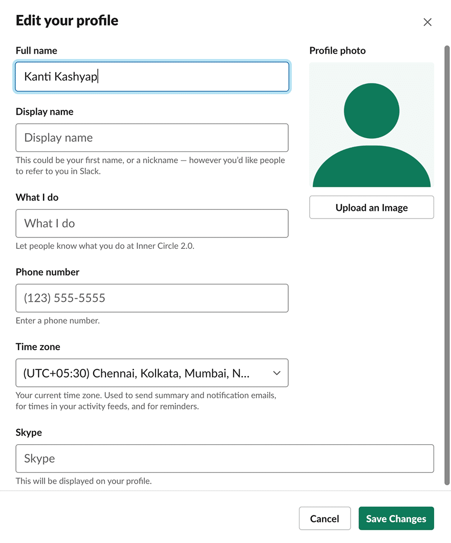 Edit Your Slack Profile