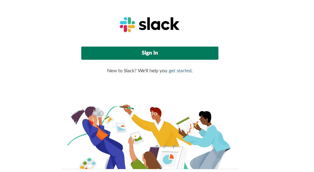 Logging into Slack