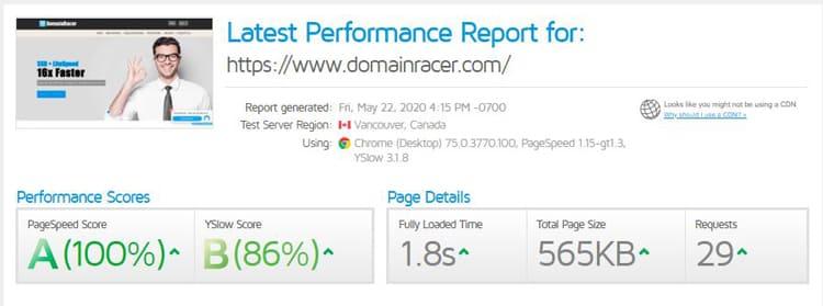 domainracer hosting speed test