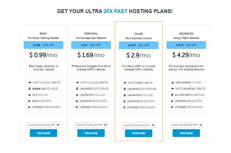 domainracer web hosting plans