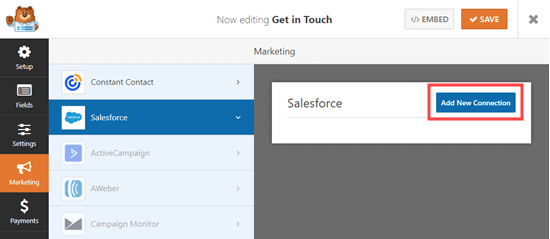 add new salesforce connection
