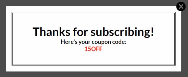 coupon popup success view