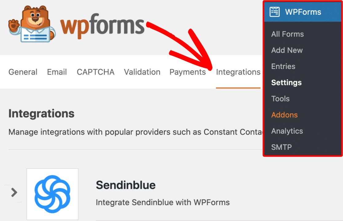 WPforms Integrations tab