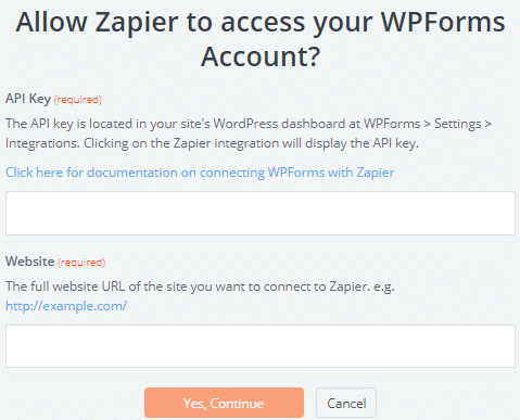 Connect site to Zapier