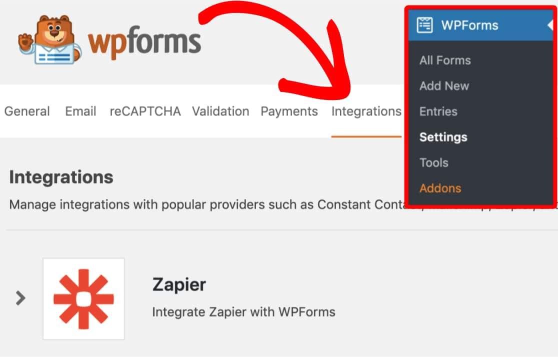 WPforms Integrations tab Zapier