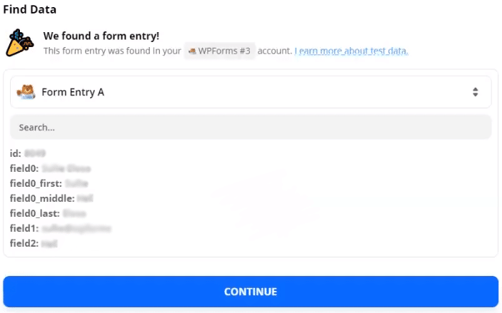 Zapier form entries