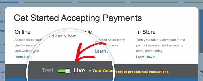 Authorize Net account in Live mode