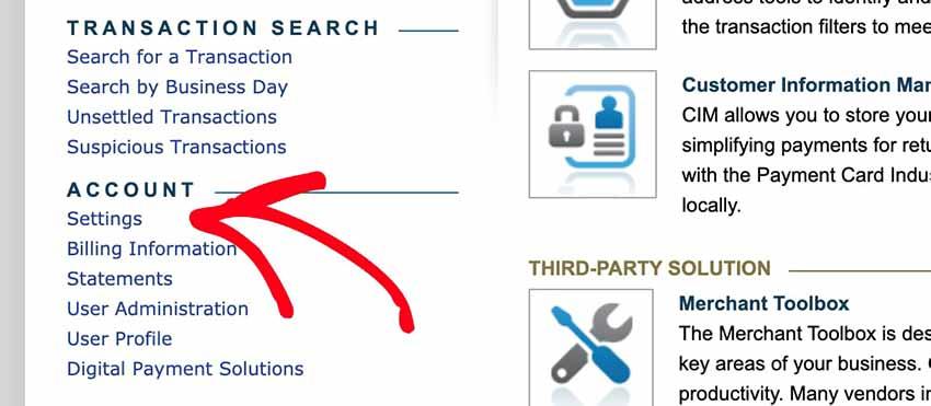 Authorize Net account settings