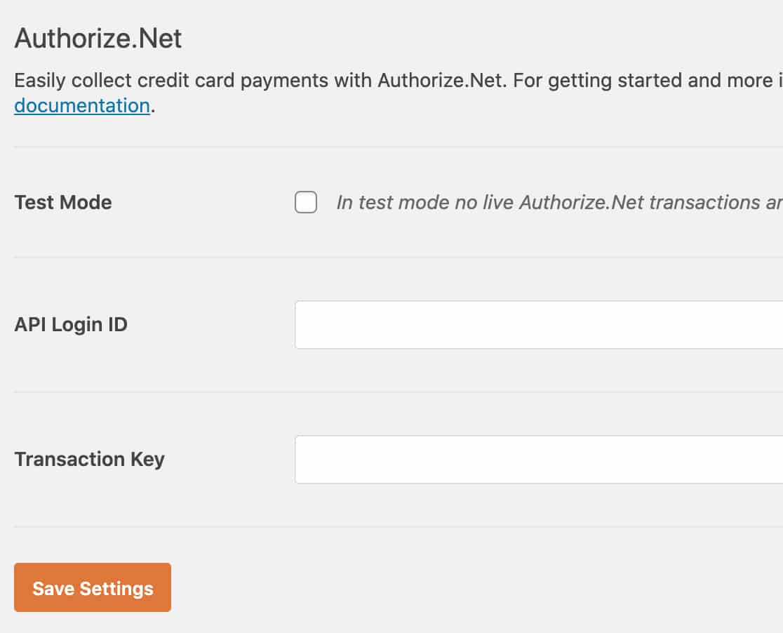Authorize Net addon settings in WPForms