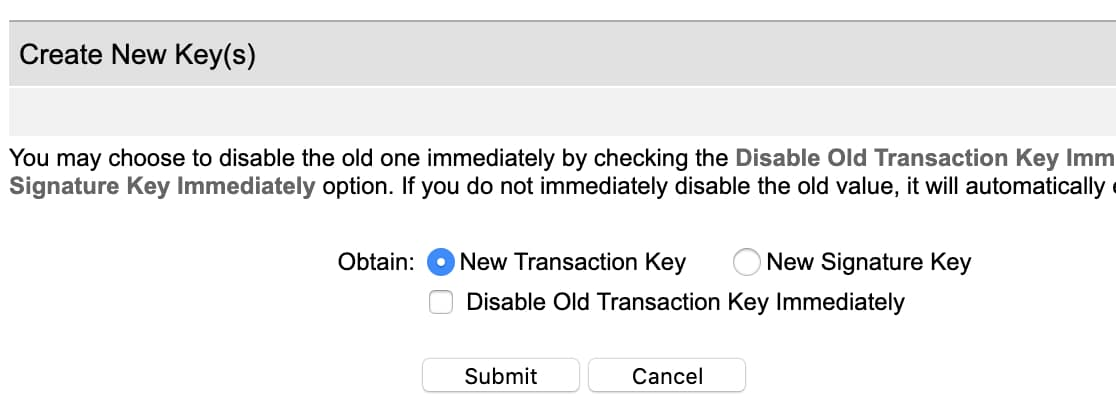 Create New Transaction Key in Authorize.Net