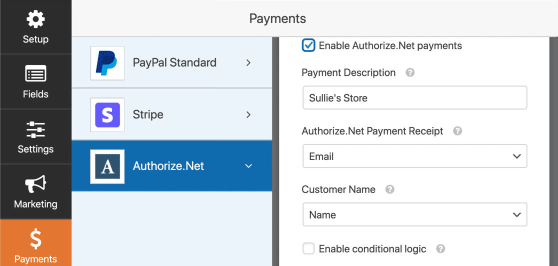 Enable Authorize Net payments in WPforms