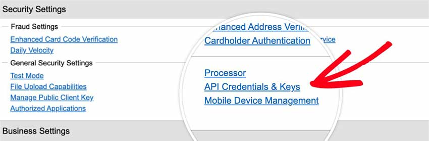 Open API Credentials and Keys page in Authorize Net-account