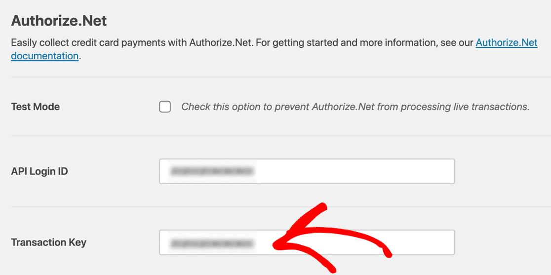 authorize net payment key
